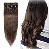 Clip in Hair Extensions Medium Brown 8 Inch Remy Human Hair Skin Weft Clip ins Full Head 8pcs 18 Clips Soft Straight Hair for Women Party 8-24 inch Highlighted Ombre 45g #4