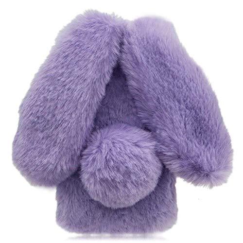 Awenroy Hase Pelz Handyhülle für Wiko Harry 2 / Tommy 3 Plus [ 3D Flauschiges Kaninchen ] Weicher & bequemer Plüschbezug Spaß schön Stoßfeste Hülle für Wiko Harry 2 / Tommy 3 Plus - Lila