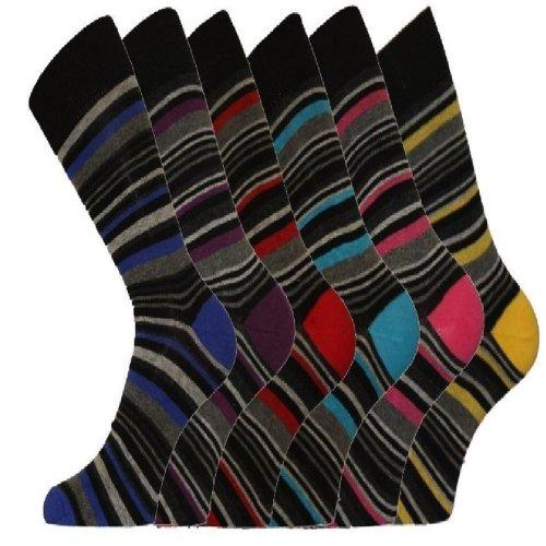 Pierre Calvini Lot de 12 paires de chaussettes rayées riches en coton pour homme Taille 39-45