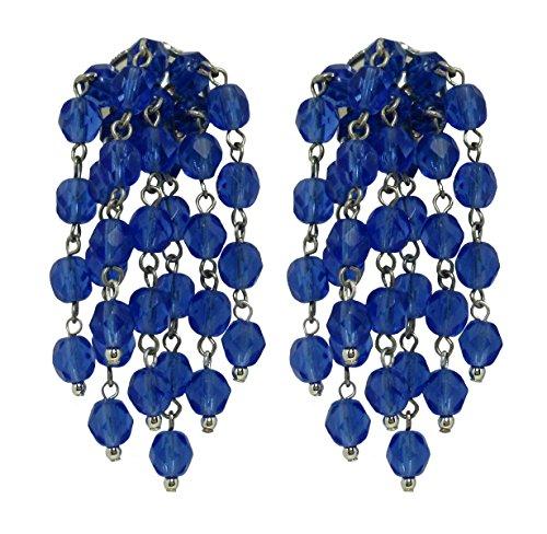 VINTAGE 2 BLUE - Orecchini con clips fatti a mano, 7 pendenti in cristallo Blu, originali anni 60, lunghezza cm. 6