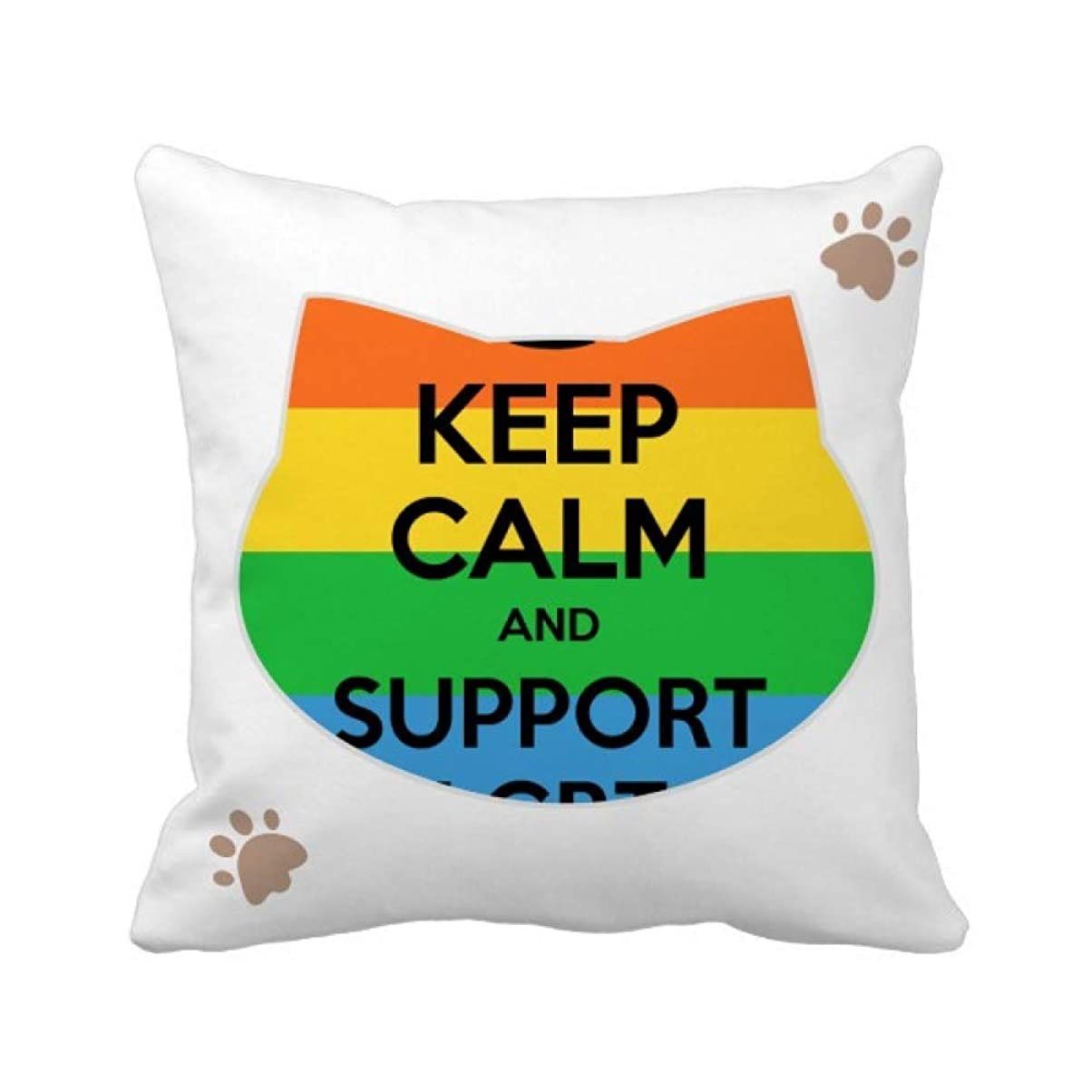モンキータンクピンクゲイ、レズビアン、トランスジェンダーのバイセクシャルの旗のイラスト 枕カバーを放り投げる猫広場 50cm x 50cm
