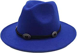 SGJFZD New Men's Women's Wool Fedora Hat Wide Brim Church Hat Travel Autumn Jazz Hat Elegant Lady Fascinator Hat Size 56-58CM (Color : Blue, Size : 56-58)