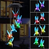 MorTime LED Solar Hummingbird Wind Chime, 25' Mobile Hanging Wind Chime for Home Garden Decoration, Automatic Light Changing Color (Blue)