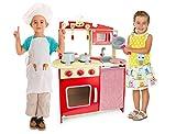 Leomark Spielküche aus Holz - Farbe Rot - Kinderküche mit Zubehör, Holzküche mit Waschbecken, Pfanne, Backofen, Kochtopf, Küchenhelfern, kreativer Spaß, Maße: 60 x 30 x 79 (Höhe) cm