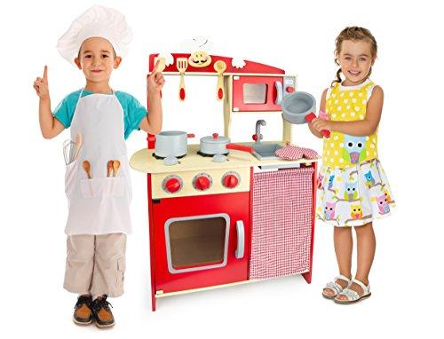 Leomark Grand Chef Cocina Madera Infantil De Juguete - color Rojo -...