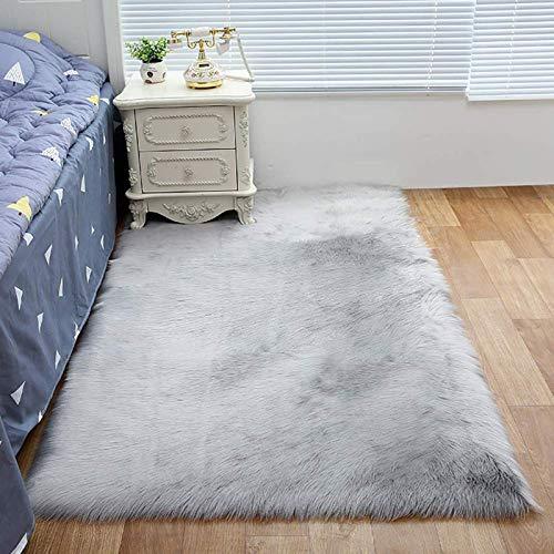 ZLJ Alfombra de Piel de Oveja sintética, fácil de Limpiar con un paño húmedo, seco Plano, alfombras de Piel Suave Alfombra Antideslizante para Sala de Estar, Dormitorio, sofá, alfombras, Gris, 5