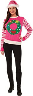 Pink Light-Up Wreath Women's Ugly Christmas Sweater Small