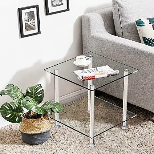 Clear Glass Coffee Table Small with Storage Shelves Living Room, 2 Tiers Sofa Side Table Corner End Table Square Tea Table Beside Nightstand Table Tempered Glass with Chrome Legs
