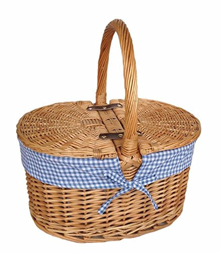 Red Hamper Wicker Willow Blue Check Lining Oval Picnic Basket