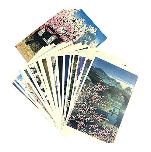 Tarjeta de cumpleaños creativa de la pintura de paisaje, postal japonesa del paisaje (24 PC)