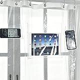 shuhong Doublure De Rideau De Douche Transparent 12 Poches Tactiles Support pour Tablette Ou Téléphone étanche pour IPad,Transparent-70 * 70'