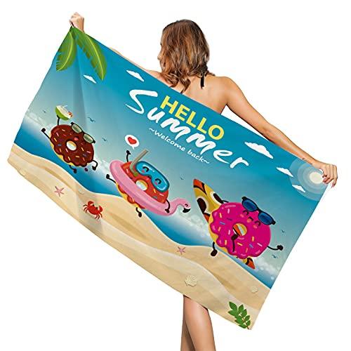 Toalla de playa grande de microfibra antiarena para mujer, 160 x 80 cm, fina toalla de playa con elásticos de verano, toalla de playa de una pieza, diseño de mandala multicolor