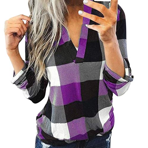 aihihe Women Long Sleeve Flannel Plaid Shirt Pullover Sexy V Neck Tops Casual Loose Boyfriend Tunic T Shirts Blouses Purple