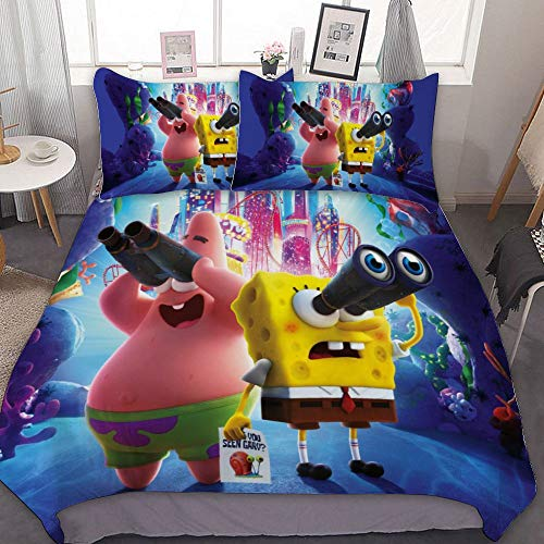 Bedding Duvet Cover Set,FULL (80x90 inch), The SpongeBob Movie Sponge on The Run (8),3 Pieces Bedding Set,With Zipper Closure and 2 Pillow Shams, Cute Cartoon bedroom Comforter Sets for Boys Girls