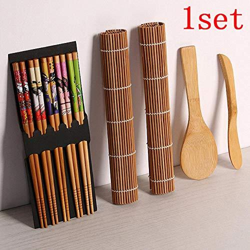 Qingsb 13 stks/set DIY Bamboe Sushi Maker Set Sushi gordijn Rijst Sushi Maken Kits Roll Koken Gereedschap Eetstokjes Lepel Sushi blade