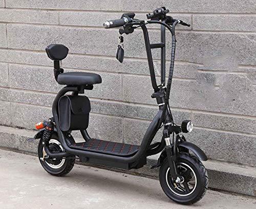 XINTONGSPP Scooter eléctrico, 48V 8A para Adultos Mini biplaza eléctrico de la Motocicleta, Plegable portátil de 10 Pulgadas Vespa, Conveniente para la Oficina del Trabajo Diario,Negro