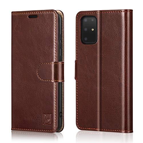 Belemay Galaxy S20 FE 5G, echtes Rindsleder [RFID-Blockierung] Kreditkartenfächer, Magnetverschluss, Flip Folio Cover Standfunktion kompatibel mit Samsung Galaxy S20 FE 5G (6,5 Zoll), Braun
