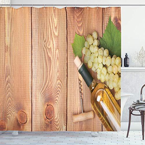 N \ A Cortina de ducha para bodega, botella de vino y manojo de uvas sobre fondo de mesa de madera, cena italiana romántica, juego de baño con ganchos, 72 pulgadas de largo