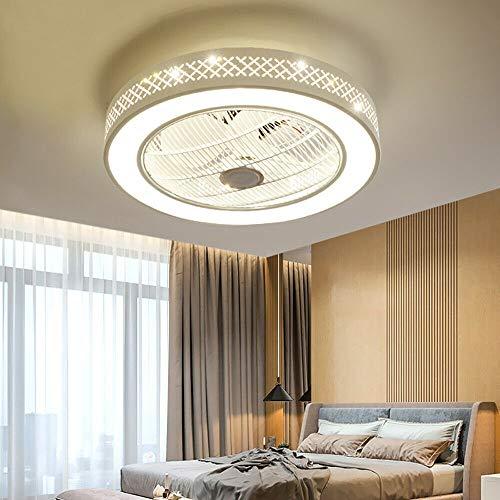 Ventilador de techo con iluminación, luz LED, velocidad del viento ajustable, regulable, con mando a distancia, 32 W, moderno, silencioso, para dormitorio, salón, lámpara de techo, color blanco