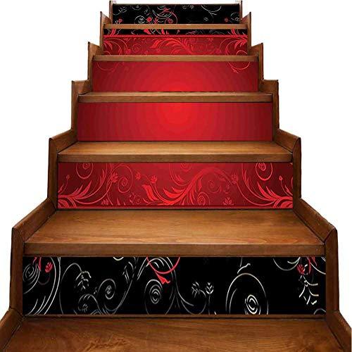 Pegatina 3D para escalera, color negro, lápiz labial en color vivo y seductor, foto de modelo, color blanco reacondicionado para escaleras o decoración del hogar, Morado-05, 7'x39.3'x6pcs