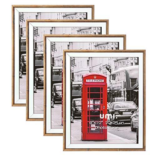 UMI. Essentials 4 Stück Rustikaler Bilderrahmen 20x25 cm mit Holzmaserung und weißem Rand für die Wand oder zum Aufstellen
