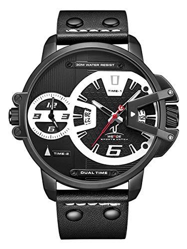 Alienwork Reloj Hombre Negro Pulsera de Cuero Calendario Fecha XL de Gran Tamaño