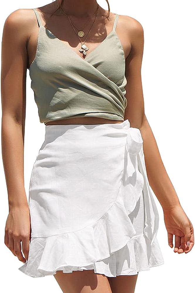 ChainJoy Womens High Waist Ruffle Hem Tie Wrap Skirt Summer Casual A Line Overlap Skirt