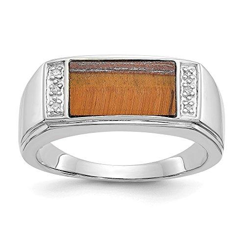 Jewels By Lux Anillo de oro blanco de 14 quilates con ojo de tigre y diamante de calidad para hombre