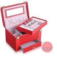 ジュエリーボックス、2層ジュエリーボックスと引き出し、時計収納ボックス、リング、イヤリング、ネックレスとカフスボタン、赤
