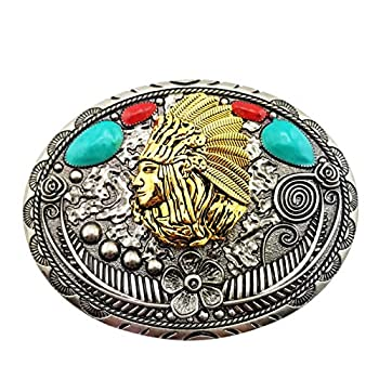 Lanxy Native Indian Belt Buckle For Men Vintage Retro Golden Indian Head Leaf Belt Buckle Indian Style