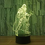 1 Stück 7 Farben Ändern 3D Lampe Marvel Superhero Hammer Form 3D Tischlampe Optische Täuschung...
