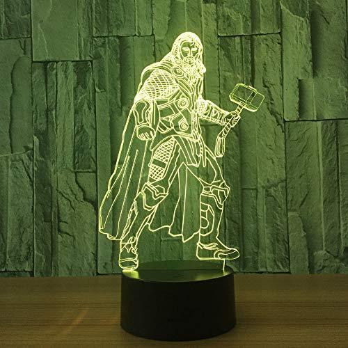 1 Stück 7 Farben Ändern 3D Lampe Marvel Superhero Hammer Form 3D Tischlampe Optische Täuschung USB Schreibtisch Licht Dekoration