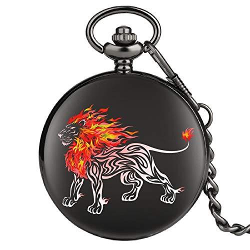 ZHAOXIANGXIANG Reloj De Bolsillo,Reloj De Bolsillo Creativo 3D Flame Lion Sketch con Números Romanos Relojes De Animales Reloj Colgante De Cadena para Hombres Y Mujeres