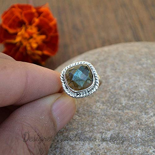 Magic Ring Purple Rose Cut Labradorite Ring Crystal Ring Round Shape Natural Jewelry Jewelry Unique Jewelry