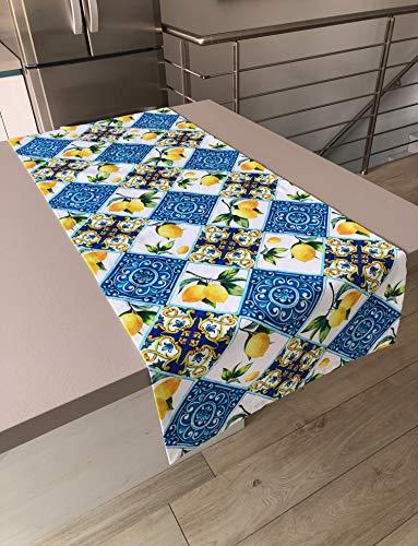 1KDreams Tovaglia Runner da tavola. Cotone. Maioliche, Limoni, arabeschi. Rettangolare. Decorazione Mediterranea, Moderna, Elegante. Made in Italy (50x140 cm)