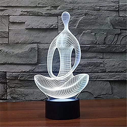 Lámpara de ilusión 3D, luz nocturna 3D para niños, yoga, meditación, 16 colores, interruptor táctil, cambio automático, decoración de escritorio, lámparas, regalo de cumpleaños