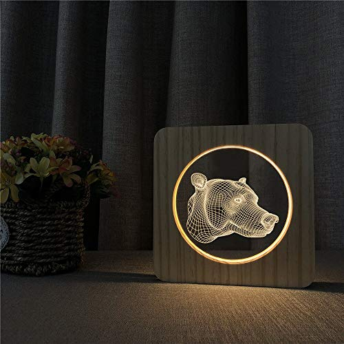 Only 1 Piece Bear Head Animal Abstract 3D LED Acrylic Wooden Night Light Childrens Room Decoration Table lamp Switch Control Engraving lamp