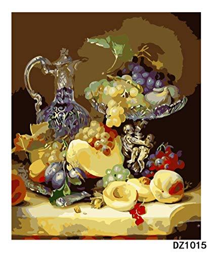 LWQHJJJ Adultos Y Niños Por Pintura Digital Diy Principiante Pintura Al Óleo Set De Regalo Preimpreso Lienzo Artista Decoración Del Hogar-Fruta 16 * 20 Pulgadas (Enmarcado)