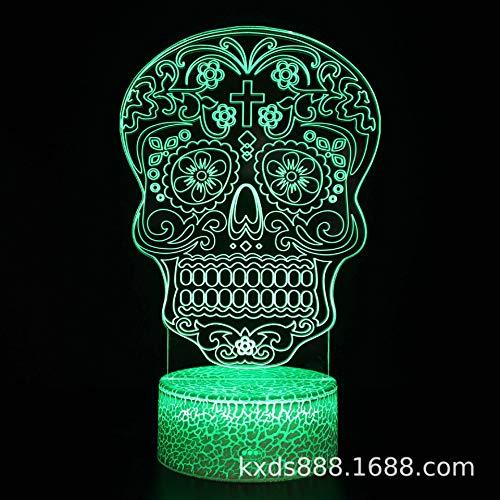 Halloween-bureaulamp met gekleurd led-nachtlampje, creatief USB-nachtlampje voor Halloween, Kx-1124, witte sokkel, gekleurd, afstandsbediening
