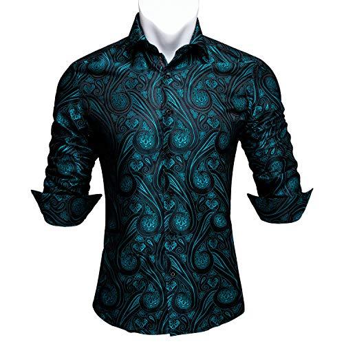 Barry.Wang - Camisa de vestir de manga larga de cachemira con diseño de flores para hombre Verde Teal XXX-Large