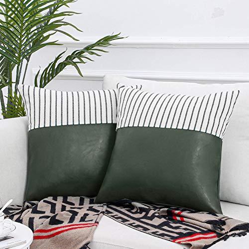 Topfinel Fundas Cojines Sofá Cama Hogar Algodón Lino Cuero Decorativa Almohadas Fundas para Sala de Estar Coche Jardín 2 Juegos 45x45cm Verde oliva