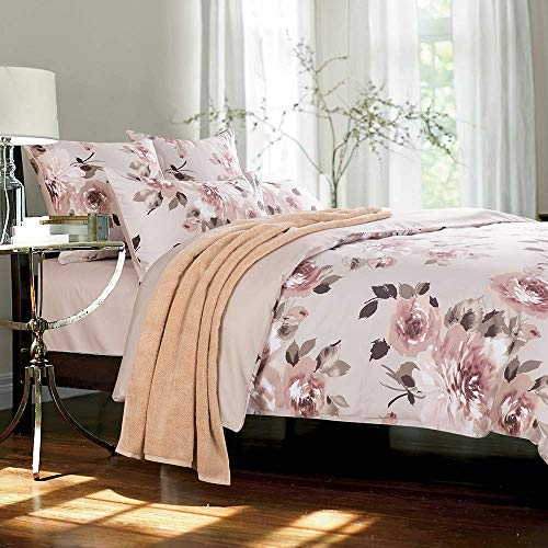 Softta Luxury Peony Floral Bedding Design Queen Size 3Pcs(1 Duvet Cover+ 2 Pillowcases 800 Thread Count 100% Cotton Duvet Cover Set