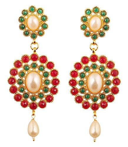 Touchstone Adorables perlas de imitación rojo brillante imitación rubí y imitación esmeralda deslumbrante pendientes de araña de joyería nupcial para mujer Multicolor-1