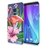NALIA Handyhülle kompatibel mit Samsung Galaxy S9, Slim Silikon Motiv Hülle Crystal Schutzhülle Dünn Durchsichtig, Etui Handy-Tasche Back-Cover Transparent Bumper, Designs:Flamingo Green