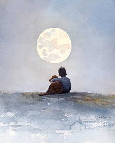 A Boy and His Dog Friend Art Print of Watercolor Painting - Child, Childhood, Friend, Friendship, Moon, Boy's Room