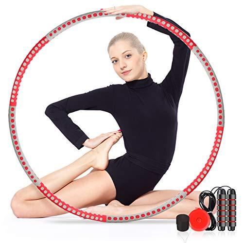 gracosy Aro Fitness Hula para Adultos Niños Diseño Desmontable con Cuerda de Saltar, Regla de Cintura, Tapón de Peso
