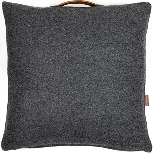 Miqio Funda de cojín de fieltro con piel auténtica (funda de cojín 'Turko'), color gris oscuro 50 x 50 cm