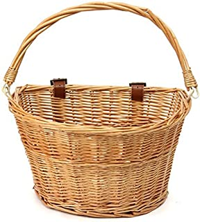 JVSISM New Arrival Vintage Wicker Bike Bicycle Front Basket Shopping Box Handlebar Leather Straps High Quality Outdoor Sports Accessory