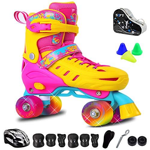 Rolschaats verstelbaar voor kinderen, Quad Roller Skates, Fun Illuminating Figure Quad Skate voor tieners, Beroep kinderen veiligheidspads Helm Skate Set