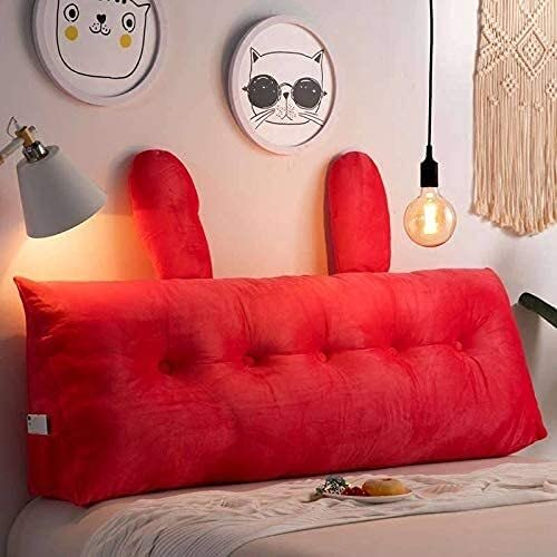 Almohada de lectura triangular, cojín de cabecera tapizado, cojín triangular para habitación de los niños para sofá cama cama litera extraíble almohadilla lumbar (color rojo sandía, tamaño: 150 cm)